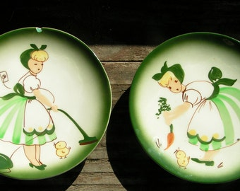 Set of Two 30's DECORA PLATES Spring Cleaning Gardening California Ceramic Hand Painted