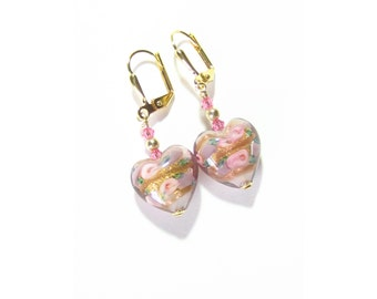 Pink Roses Heart Earrings, Murano Glass Clip On Earrings, Leverback Earrings, Lampwork Glass Earrings, Italian Glass Jewelry, Gifts For Her