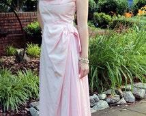 CLEARANCE. 1950s Emma Domb Gown, Pink Taffeta Dress, Crinoline Petticoat, Retro Prom Dress