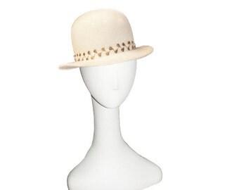 Winter White Hat, Marshall Field, Wool Felt, Gold Leaf Hatband, Vintage 1950s