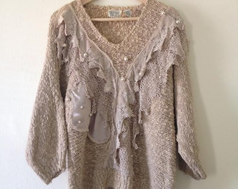 Grunge Lace Pearl Oversized Vintage Sweater Bonnie and Bill by Holly