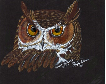 Great Horned Owl print from my colored pencil drawing
