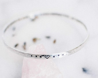 May my heart be kind and my spirit brave quote. Inspirational jewelry. Yoga Jewelry. Yoga gift. Sterling silver stacking bracelet. RTS BS002