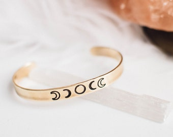 Moon phase cuff. Phases of the moon bracelet. Goddess bracelet. Hand stamped bracelet. Gift for her. Moon jewelry. Meaningful cuff bracelet.
