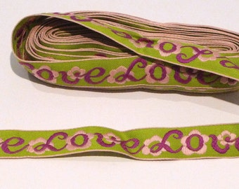 Love Trim Vintage Embroidered Love Clothing Trim Pink Purple Green Bulk Lot Sewing Supplies 1960s 1970s Destash Hippie Preppy Script Cursive