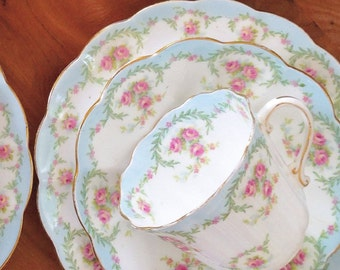 Delicately Feminine Vintage 1907 Tuscan China Tea Trio ~ Pink Rose Floral and Green Garland, Soft Blue Border, Scalloped Edges