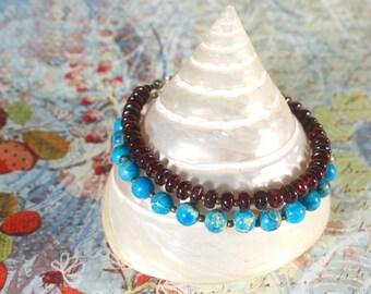 Turquoise Bracelet, Turquoise Imperial Jasper Bracelet, Red Garnet Bracelet, Ethnic Jewelry, Multi Strand Bracelet, Blue Stone Bracelet