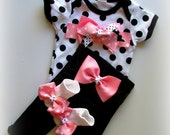 Baby Girl Pink Diva Outfit, Black White Polka Dot Pants Set, Newborn Baby Girl Take Home Outfit, Baby Girl Shower Gift, Photo prop outfit