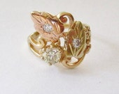 Vintage Yellow Diamond Solitaire Pinkie Ring 10K B.H. Gold (approx .50 Ct TDW )