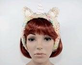 Crochet Unicorn Headband-Animal Headband-Women Accessories-Lolita -Ear Warmers-Rainbow-Kawaii Christmas Gift-Birthday Gift-Birthday Costume