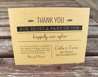 Rustic Wedding Thank You Cards: Set of 25 Personalized Kraft Cards. Personalized Wedding Card. Custom. Handmade. Kraft Cardstock.