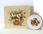 Vintage Set of Two Coordinating Pair Crewel Wall Hanging Hand Embroidered Strawberry Flower Basket w/ Big Bouquet Summer Fruit Red Berries