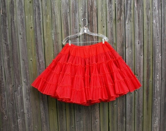Vintage red crinoline slip petticoat skirt size S M L or XL swing square dance rockabilly