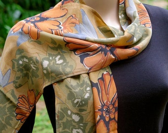 Long Summer Scarf, Silk scarf