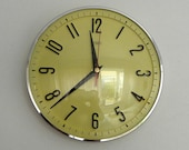 Vintage Metamec - Yellow Kitchen Clock - Battery Operated Recycled Wall Clock