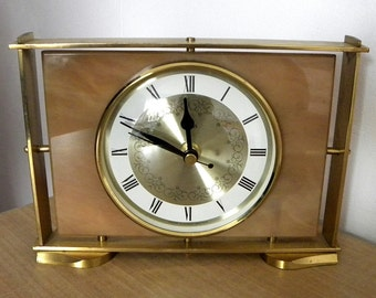 Recycled Smiths Clock Faux Marble Battery Mantel Shelf 1970s