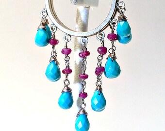 Turquoise Silver Ruby Hoop Earrings, Vintage Turquoise  Dangle Earrings, Faceted Sleeping Beauty Turquoise  Hoop Earrings