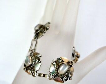 Art Nouveau Moonstone Sterling Silver Bracelet