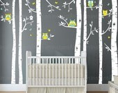 Birch Tree Decal with Owls | Birch Tree Wall Decal | Baby Nursery, Children's Room Interior Designs | Easy Application 080