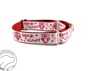 """Hoot for Love Valentine Dog Collar - 1"""" (25mm) Wide - Martingale or Quick Release Dog Collar - Choice of collar style and size"""