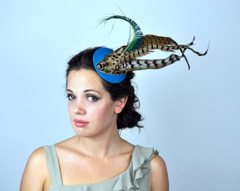 Bold Feather Fascinator in Turquoise with Natural Feathers