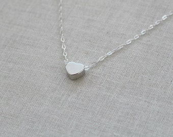 Silver Heart Necklace- Sterling Silver Chain- Heart Charm- Sterling Silver Necklace, Birthday Gift, Valentines Jewelry, Silver Heart Pendant