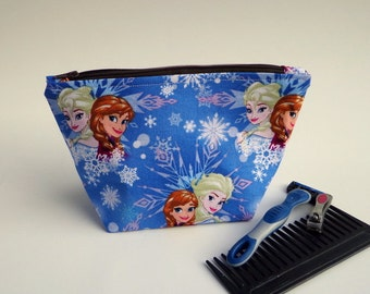 Frozen Elsa and Anna Toiletry Bag,  Make Up Bag, Cosmetics,  Zipper Bag