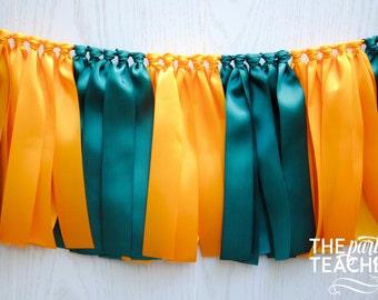 Green Yellow Bunting - FREE Shipping - Graduation Party - Ribbon Bunting - Graduation Bunting - School Bunting - Football Bunting