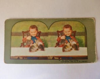 My New Little Kitties Stereoscope Card 1898, T.W. Ingersoll Stereo Card, Children's Color Stereoview Card