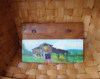 Hand Painted Barn Scene on Bakery Dough Scraper, Signed Painting on Bakery Cutter