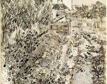 Van Gogh Reproduction.  Cottage Garden, 1888 by Vincent van Gogh, Fine Art Print.