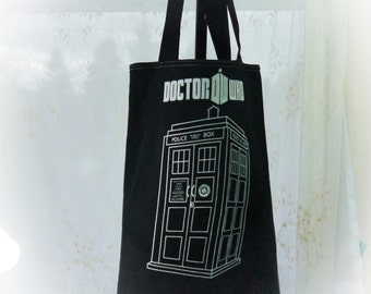 Upcycled Tee Shirt Bag Dr Who T Shirt Repurposed into Tote Bag Again