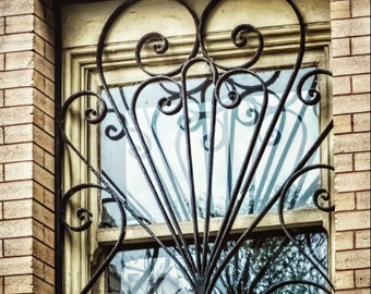 Heart Shaped Black Wrought Iron Window Scroll Grill Bars Neo Classical Architecture Brick Building Window Reflection Fine Art Photo Print