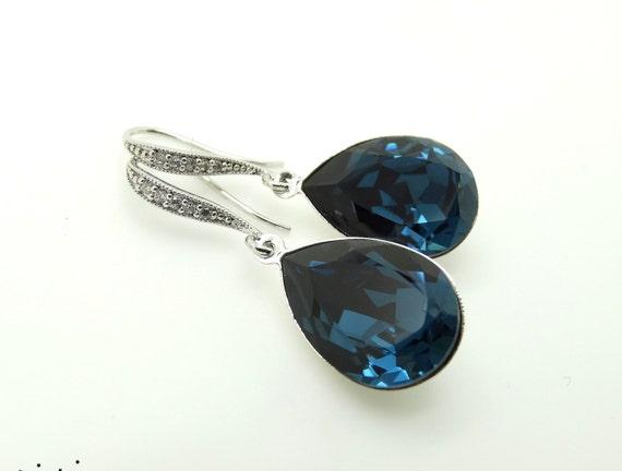 Blue Bridal Earrings Navy Blue Earrings Wedding Jewelry Swarovski Crystal Montana Blue Teardrop Earrings Bridesmaid Jewelry Bridesmaid Gifts