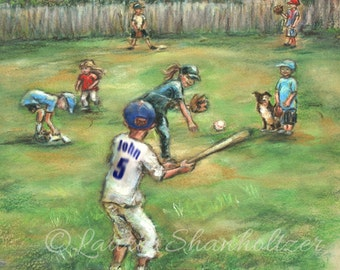 Baseball, Kids, Personalized, Art Print, Name, Number, Color, Ponytail, 8x10, children Playing