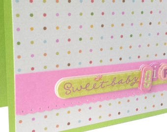 Sweet Baby Girl Card, Baby Shower Card, New Baby Girl Card, Congratulations Baby Girl Card