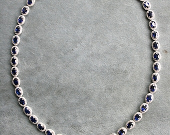 Significant Vintage 14K White Gold Diamond Halo and Natural Sapphire Riviera Style Necklace - 37.15ct.