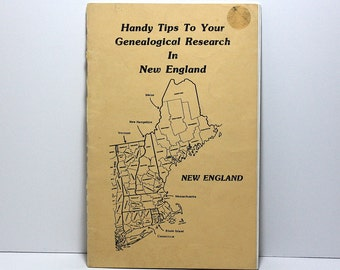 Genealogy Book, Handy Tips to Your Genealogical Research in New England, Vintage Booklet, 24 Pages, Paper Ephemera