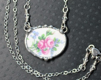 Necklace, Broken China Jewelry, Broken China Necklace, Pink Roses and Blue Floral China, Sterling Silver Chain, Soldered Jewelry