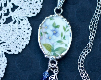 Necklace, Broken China Jewelry, Broken China Necklace, Blue and Lavender Floral China, Sterling Silver