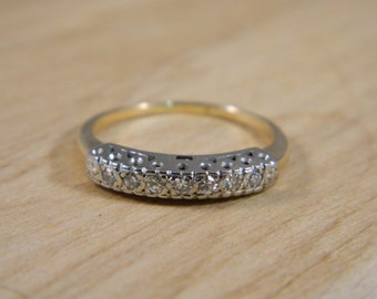 Diamond Wedding Band / Vintage 14k Yellow and White Gold / Illusion Wedding Ring Size 7