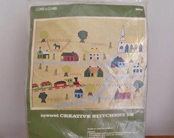 Crewel Creative Stitchery Kit Unused Primitive Landscape from Coats & Clark Yellow Village to Stitch