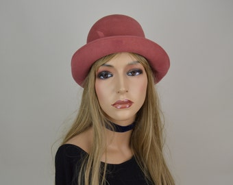 80s Dusky Rose Pink Wool Sun Hat