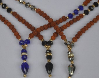Rudraksha and Faceted Glass Beads Gold Tone Spacers Necklace