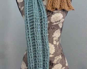 Blue Chunky winter scarf, Crochet Scarf