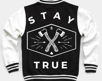 Stay True Contrast Jersey Bomber Jacket