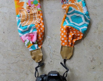 Orange + Teal Patchwork Scarf Camera Strap w/ Lens Cap Pocket + Button