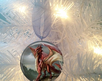 Dragon #5 Burgundy  Christmas Tree Ornament