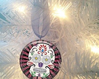Sugar Skulls #5 Day of the Dead  Christmas Tree Ornament