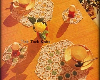 No.485 Doily Crochet Pattern PDF Vintage - Old Denmark Placemats & Doilies Drink Coasters - Hexagon Table Setting - 1970's Crochet Pattern